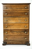 Oak Six Drawer Cylinder Record Cabinet