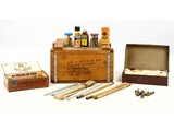 Wooden Crate of Antique Shotgun Cleaning Equipment
