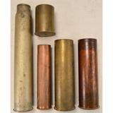 Lot of 5 Artillery Shell Casings