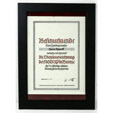 WWII Framed German Award Document