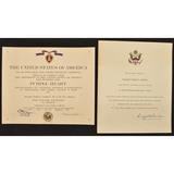 US Korean War Purple Heart/KIA Certificates