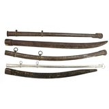 2 Wooden Native Made & 3 Metal Scabbards