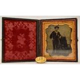 1/6 Plate Tintype of U.S. Sailor + CW Era Button