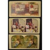 3 Black Americana Stereo Cards