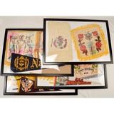 Lot of 8 Framed Military Shams and Pennants