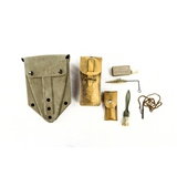 Lot of Gun Cleaning Supplies & Entrenching Tool