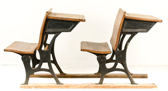 Pair of Vintage School Desks