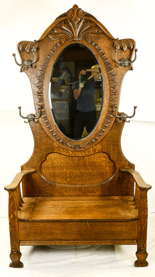 Large Oak Hall Tree/Mirror and Bench