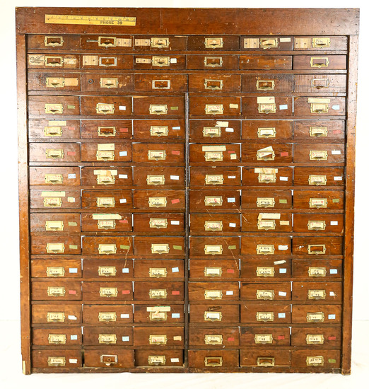 Large 90-Drawer 1910 Wooden Hardware Cabinet