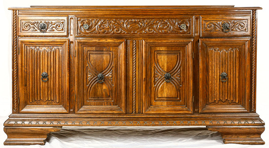 Oak Buffet 1930's Signed Virginia House in Drawer