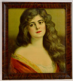 Vintage Pin Up Woman Saloon Style Lithograph