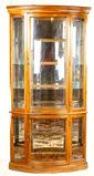 Contemporary Oak Curved Glass Corner Cabinet