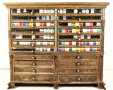 Vintage Wood Spool Cabinet