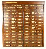 Large 90-Drawer 1910 Wooden Hardware Cabinet