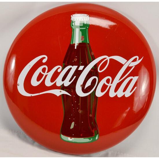 """24"""" Porcelain Coca-Cola Button Sign w/Bottle"""