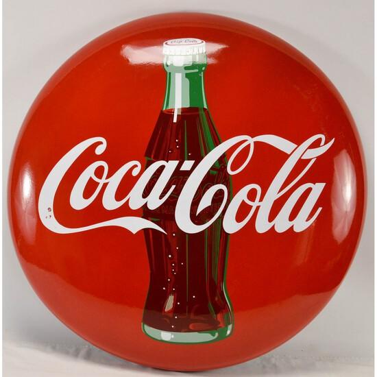 """36"""" Coca-Cola Porcelain Button Sign W/Bottle"""