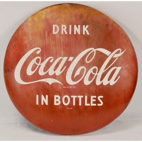"""Vintage Original Drink Coca-Cola 24"""" Button Sign"""