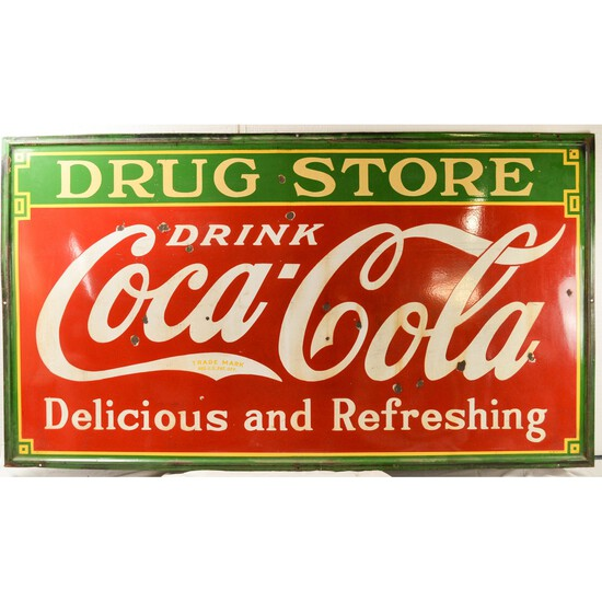 Vintage Large Coca-Cola Porcelain Outdoor Sign