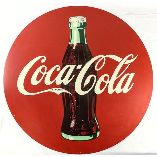 Large Round Coca-Cola Tin Sign
