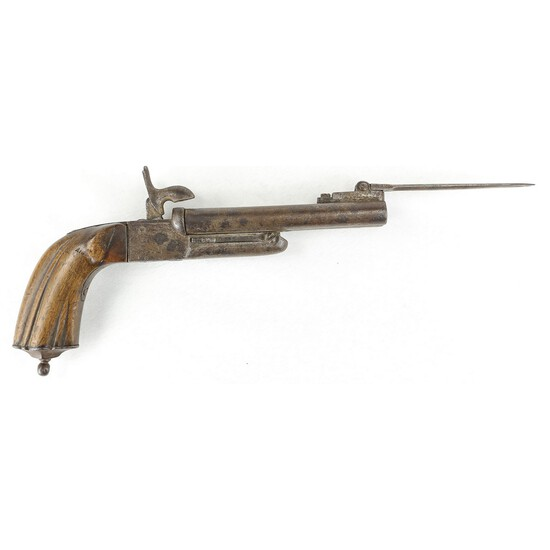 Spanish Pin Fired Double Barrel Pistol w/ Bayonet