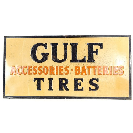 Gulf Tires Single Sided Embossed Sign