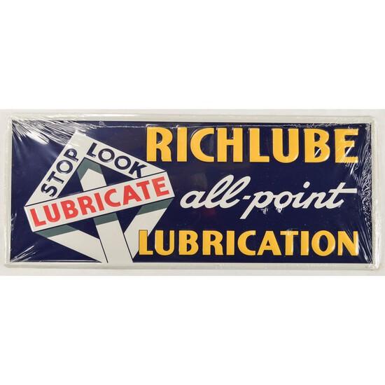 Metal Enameled Richlube Sign