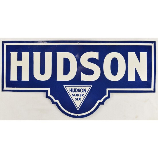Metal Enameled Hudson Super Six Sign