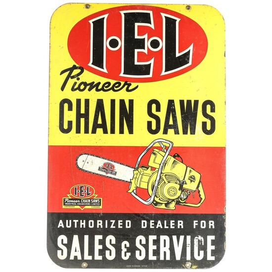 I.E.L Pioneer Chain Saws Double Sided Sign