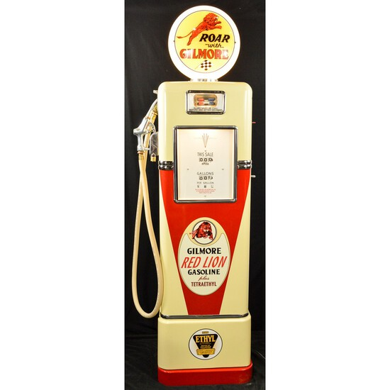 1930's Bowser Model 555 Gilmore Red Lion Gas Pump