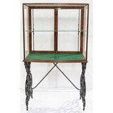 Country Store Display Case w/ Ornate Cast Iron Leg