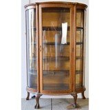 Round Glass and Wood China Cabinet