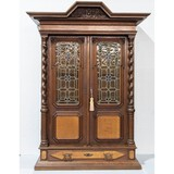 English Oak Bookcase With Leaded Glass Doors