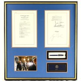 Framed President Geo Bush Signature Pen and Bill