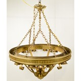 Large Brass Bank Style Chandelier
