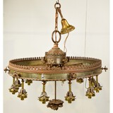 Large Saloon Style Stamped Steel Chandelier