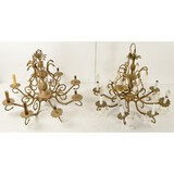 2 Matched Brass Chandeliers