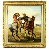 Framed Oil Painting of Fighting Cowboy & Indian