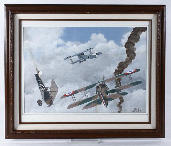 "Bob Weiler ""Spad 13 vs Fokker D7s"" Painting"