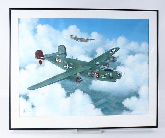"""Bob Weiler """"B-24 Calamity Jane"""" Painting"""