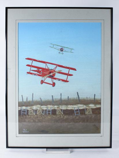 """Bob Weiler """"Baron Von Richtofen"""" Painting"""
