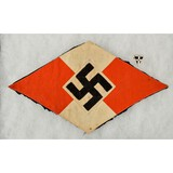WWII German Hitler Youth BDM Flag Fragment and Pin