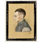 WWII German Pastel Painting Hitler Youth Band