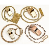Lot of 4 Police Whistles W/Chain Attachments