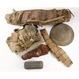 WWI Helmet, Pistol Belt, Gas Mask