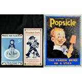 3 Advertising Signs Cracker Jack, Popsicle