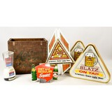 Lot of Alcohol Advertising Signs & Crate