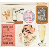 Lot of Vintage Ice Cream Parlor Items