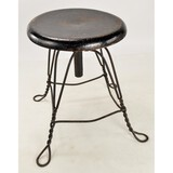 Classic Round Wood Seat 4-Leg Piano Stool
