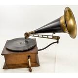 Standard Disc Talking Machine w/Brass Bell Horn