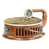 Stewart Disc Phonograph Wood Grain Metal Cabinet